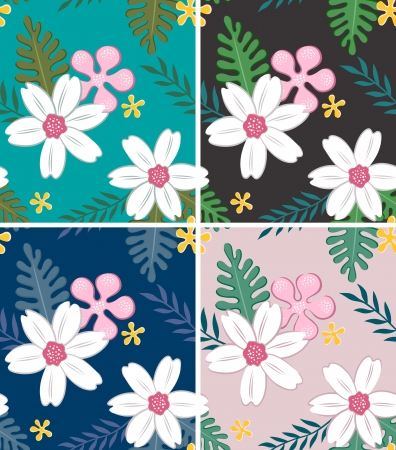 repeated: seamless flower pattern set Illustration
