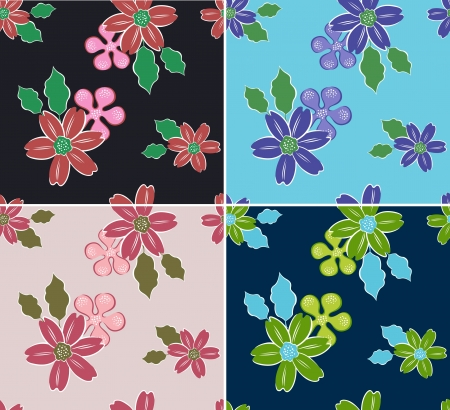 seamless flower pattern set Stock Vector - 15221093