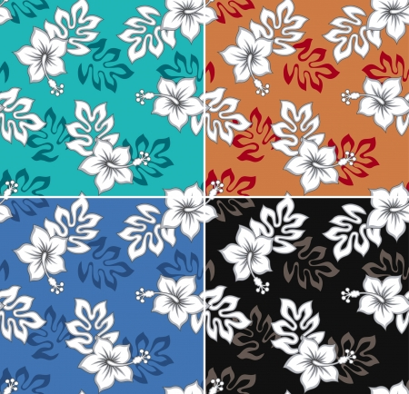hawaiian: seamless flower pattern set Illustration