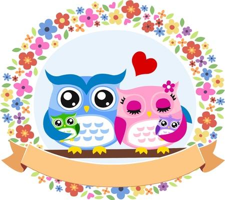 owl bird family floral frame emblem Vector