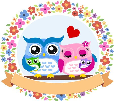 owl bird family floral frame emblem