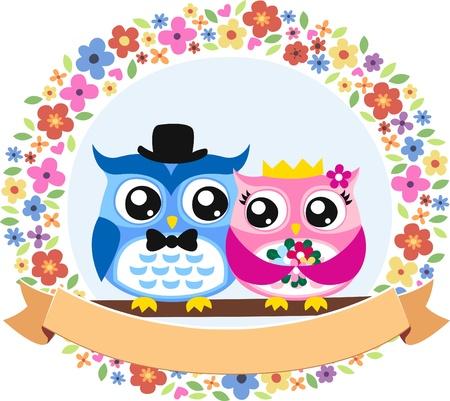 anniversaire mariage: mari�e et le mari� hibou embl�me floral Illustration