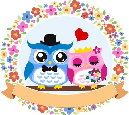 marriage proposal: owl bride and groom floral frame emblem Illustration