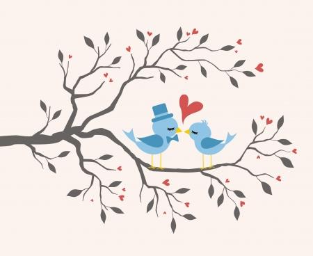 enamorados besandose: Besar Pájaros en amor en la rama Vectores