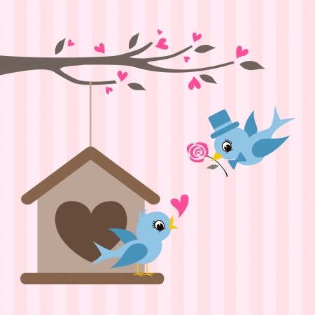 birdhouse: love birds valentine greeting design