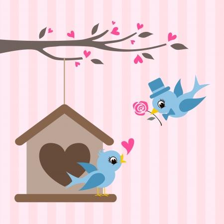bird house: love birds valentine greeting design