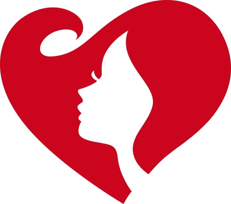 love heart shape woman face Silhouette Vector