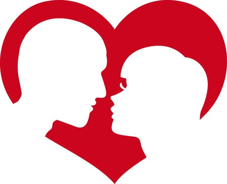 man and woman lovers in red heart  Vector