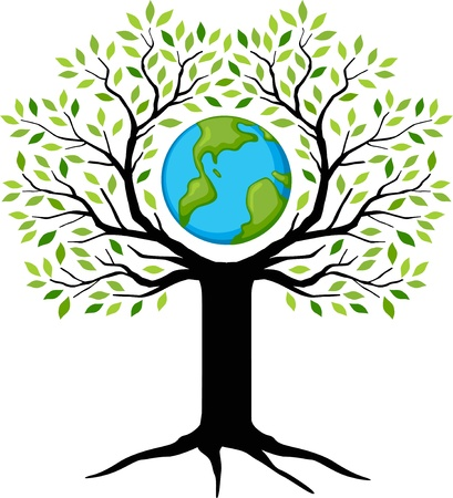 tree planting: eco friendly green Earth tree  Illustration