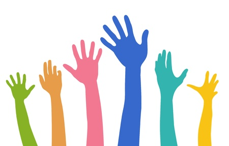 outstretched: colour diversity rising hands
