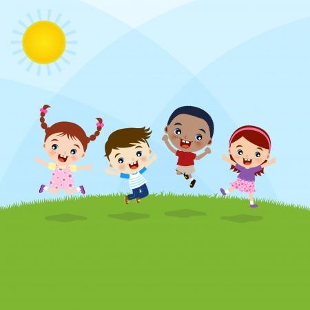 hermanos jugando: niños saltando Vectores
