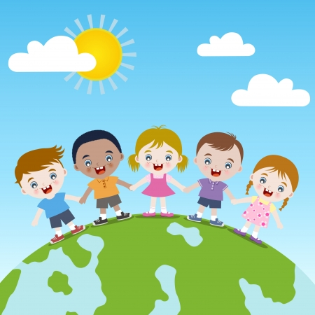 multicultural group: happy children together on earth