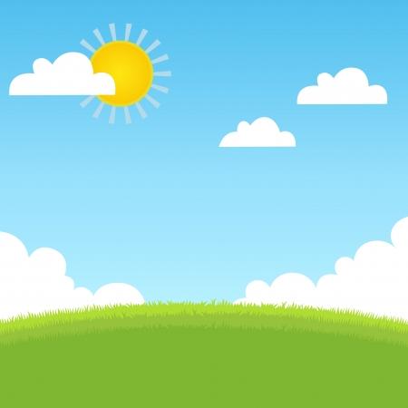 himmelsblå: Sommaren landskap med gräs, blå himmel