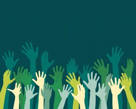 bras lev�: mains diversit� hausse Illustration