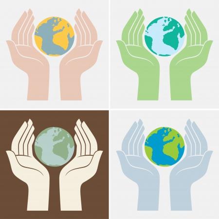 earth friendly: Guardar los iconos del planeta Vectores