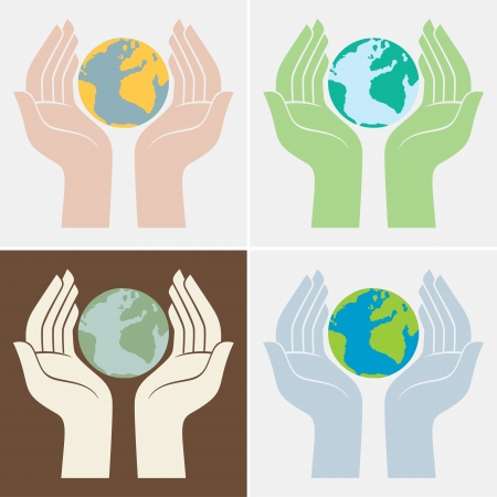 people holding sign: Save the planet icons Illustration