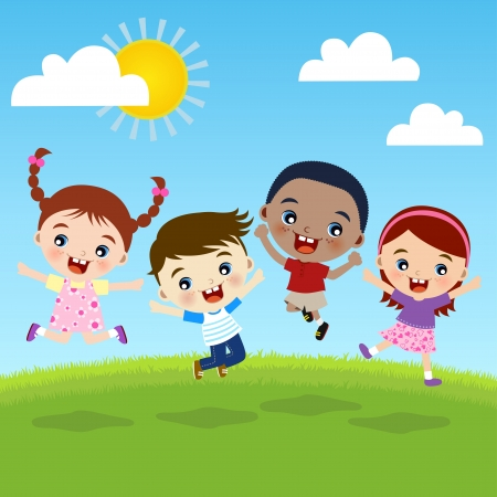 kids garden: group of happiness children together Illustration