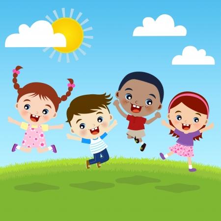 kinder: gruppo di bambini felicit� insieme Vettoriali