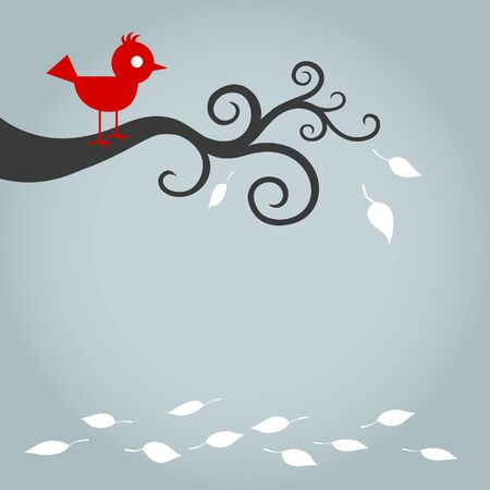 Red Bird On Tree With Fallen Leafs Vector