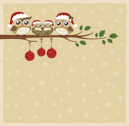 owl family christmas celebration  Illustration