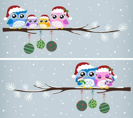owl on branch: owl family christmas celebration  Illustration