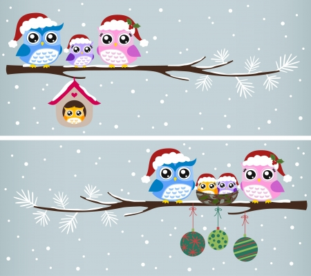 december holiday: owl family christmas celebration  Illustration