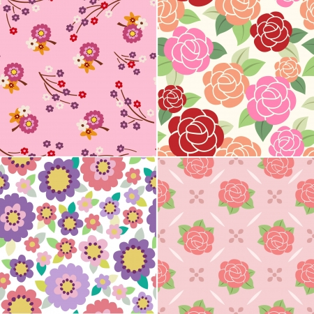 Seamless Floral Fabric Pattern Design Illustration