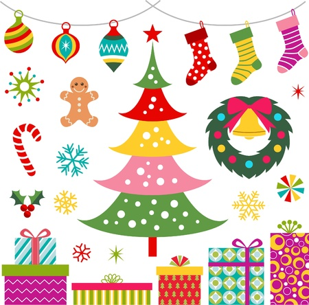 christmas ornament, gift and tree set Stock Vector - 16419735