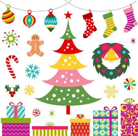 christmas ornament, gift en boom set Vector Illustratie