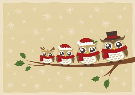 buhos y lechuzas: b�ho familia felicitaci�n de la Navidad Vectores