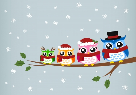 owl family christmas greeting Stock Vector - 16480520