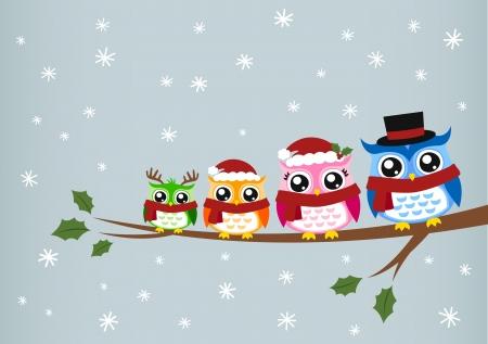owl family: owl family christmas greeting  Illustration