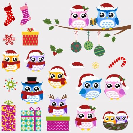 christmas bird: owl family christmas greeting  Illustration