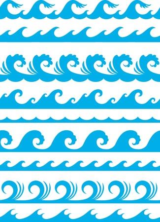 물결: 원활한 바다 물결 세트 일러스트