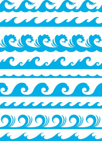 seamless ocean wave set Stock Vector - 16477688