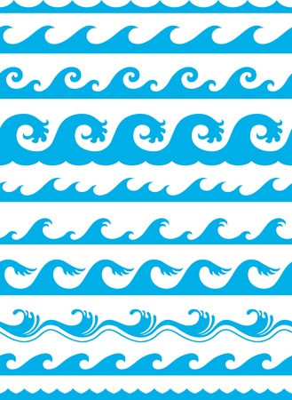 seamless ocean wave set Vector Illustration