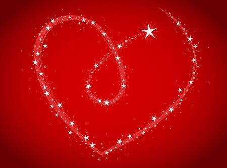 love bright theme with stars in heart shape Vector