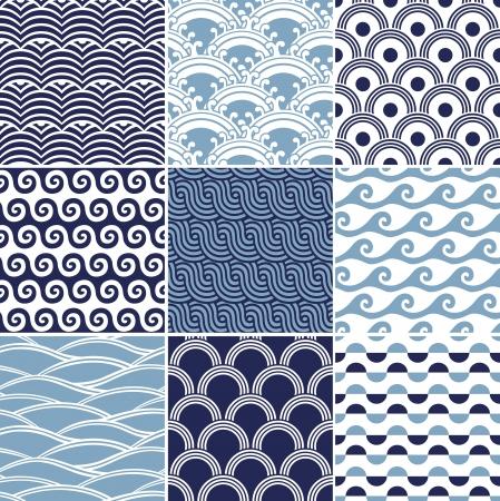 epicenter: seamless ocean wave pattern  Illustration