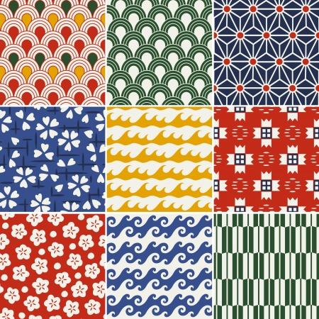 seamless japanese kimono pattern  Vector