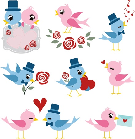 birds couple design for valentines day  Ilustrace