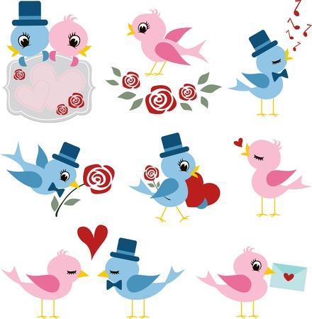 lady bird: birds couple design for valentines day  Illustration
