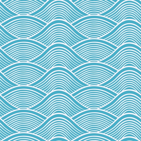 japanese seamless ocean wave pattern  Vector