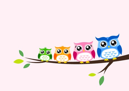 owl family: owl family greeting