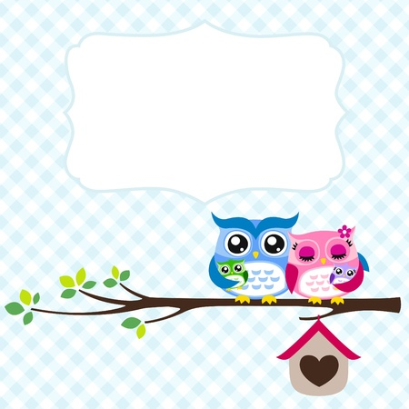 owl family greeting Stock Vector - 17176504