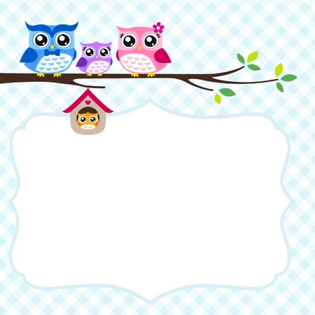 owl family greeting  Vector
