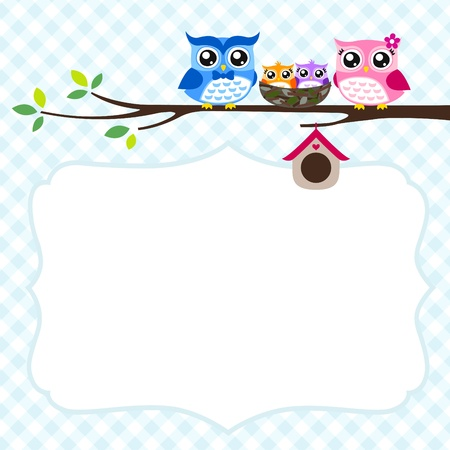 owl family greeting Stock Vector - 17176505