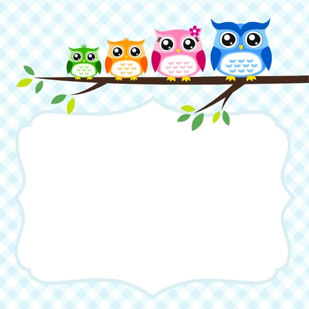 owl family greeting Stock Vector - 17176502