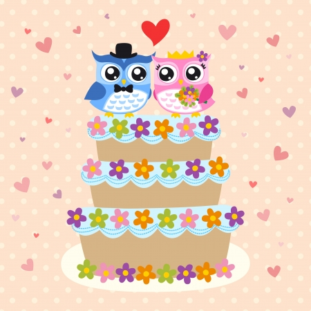 bird bride and groom on wedding cake Vector