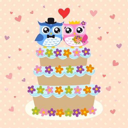 vogel bruid en bruidegom op bruidstaart
