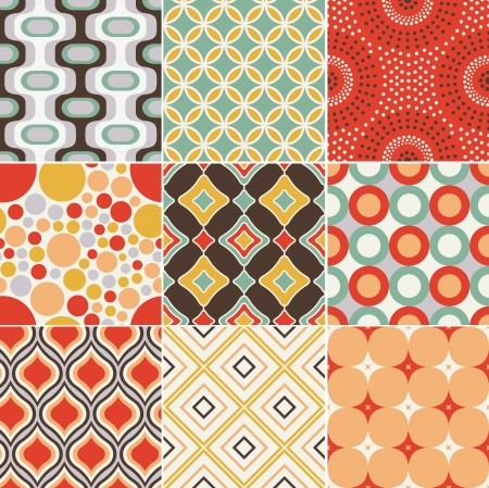 retro illustration: seamless retro vintage pattern
